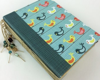 Small bird hand bound journal with beads - notepad - long stitch with beads on spine - Sketchbook - poetry book - tea stained pages -