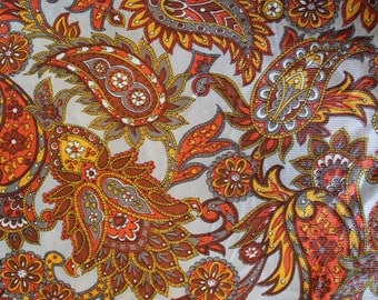"Vintage 1960's 70's Cinnamon / Gray / Gold Giant Paisley Print Nylon Skip Dent Ribbed Fabric 46"" x 3 Yards"