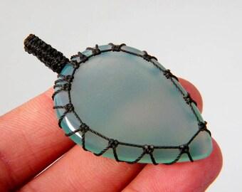 Macrame Jewelry - Green Onyx Pendant, Onyx Macrame Necklace, Handmade Macrame Jewelry, Beautiful Gift Idea SH-3999
