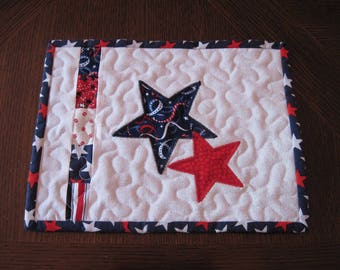 Patriotic Stars Quilted Mug Rug/Candle Mat/Snack Mat/Trivet - red, white, and blue mug rug with appliqued stars