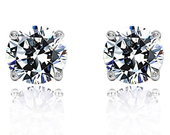 0.15 Carat Diamond Solid 14K White Gold 2.8mm Round Solitaire Stud Earrings(DFRD0015EWG)