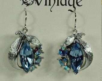 Vintage Blue Rhinestone Leaf Earrings, 50's Blue Silver Earrings, Vintage Wedding Bridesmaid Earrings, Blue AB Glam Earrings, Blue Earrings