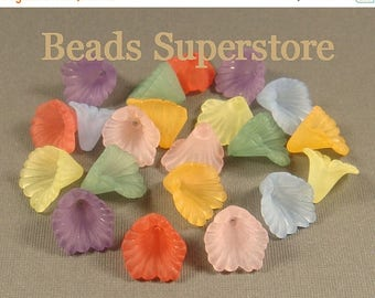 SALE 12 mm x 12 mm Ruffled Calla Lily Lucite Flower Bead MIX - 20 pcs