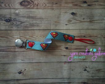 Soothie Pacifier Holder--Chevron Superman