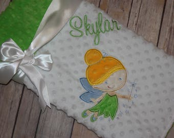 Fairy- Personalized Minky Baby Blanket - White / Lime Minky - Embroidered Fairy