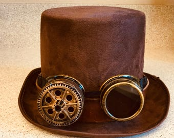 Steampunk Goggles Brown Top Hat