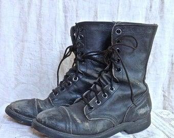 SUMMER SALE Vintage Distressed Combat Boots Size 5.5 Men's 8 Women's