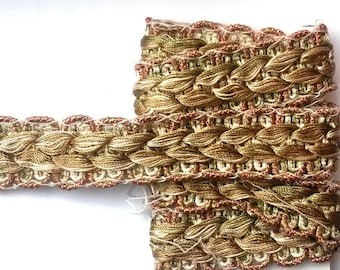 1 meter of 2.2 cm wide braided and woven trim beige, green and orange