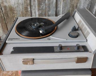 Radiomarelli VF14T italian 1960s turntable in carry case, vinyl record player