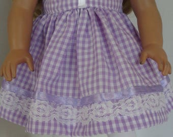 18 Inch Doll Dress/18 Inch Doll Clothes/Purple and White Checked Dress/Accented with Lace, Ribbon and Buttons