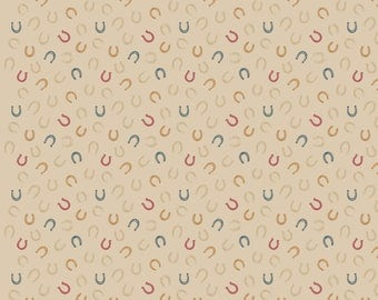 A226.1 - Farley Mount Horseshoes On Natural Lewis & Irene Patchwork Quilting Fabric
