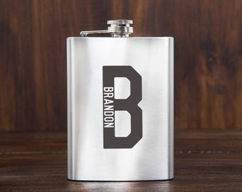 Gifts for men, engraved flask, whiskey, personalized, groomsmen flask, gift for him, birthday gift, etched flask, custom flask, hip flask
