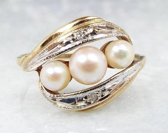 Vintage / 1987 9ct Yellow Gold Art Nouvea Style Pearl Diamond Trilogy Ring / Size M