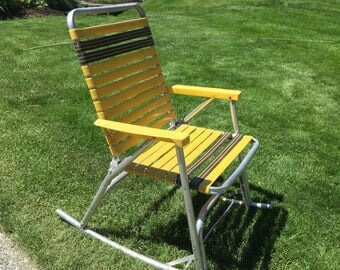 Aluminum webbed rocking chair, clamping, camping, aluminum chair