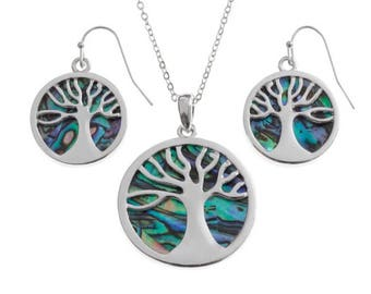 Tide Jewellery Paua Shell Tree Of Life Pendant & Earrings Gift Boxed