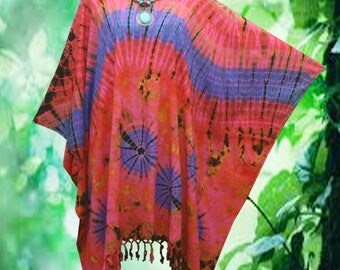 Psychedelic Hand dyed Fringe Beach Cover Up Poncho Top