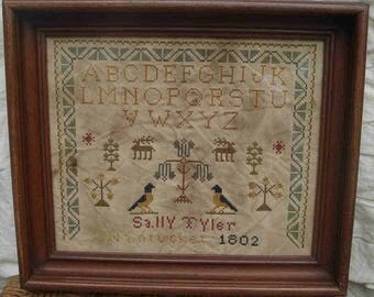 Primitive cross stitch, sampler chart/pattern,primitive needlework, schoolgirl sampler, early American, Sally Tyler