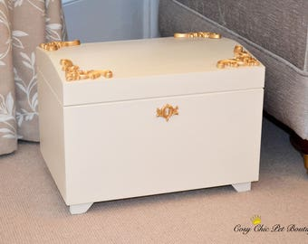 Toy Box Rococo Baroque French Style Gold Cream Dog Toy Bin Storage Pets Cat Toys Luxury Lidded Raised Wooden Storage Trinket Box Memory Box