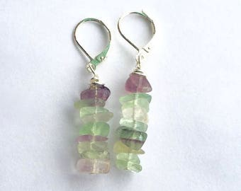 Rainbow Fluorite Chips Earrings, Green and Purple Dangle Earrings, Dainty Drop Earrings, Sterling Silver Lever Back Earrings,