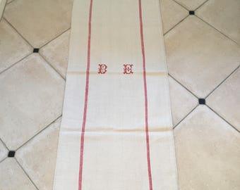 Red Stripe Monogrammed 'B E' Limestone Beige Vintage Linen Grainsack