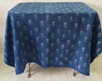NTS 1709 Indigo Tumbling Flowers Tablecloth or Sheet Linen for Tables Vintage Fabric Handmade Linen