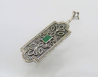 Vintage Sterling Silver Natural Emerald Filigree Pendant