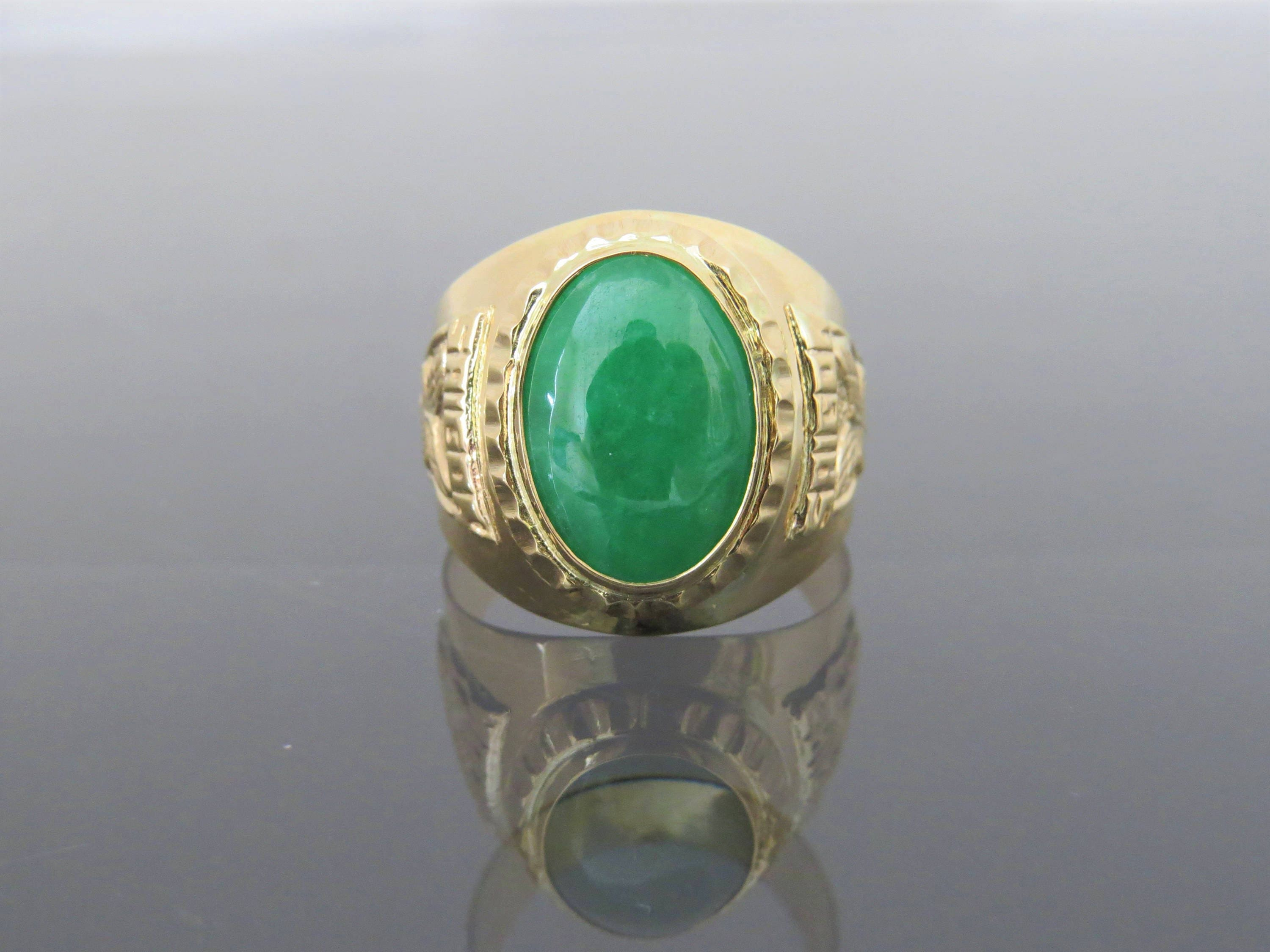 jade s oval jadeite ring emerald natural mens solid gold p size yellow green fullxfull men vintage il
