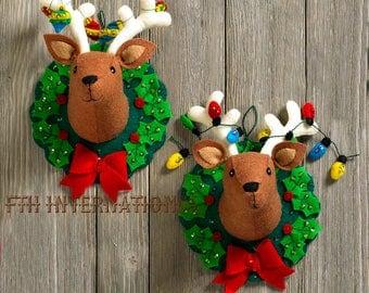 Bucilla Jingle & Belle ~ Felt Christmas Wall Hanging Kit #86744 Reindeer, Wreath
