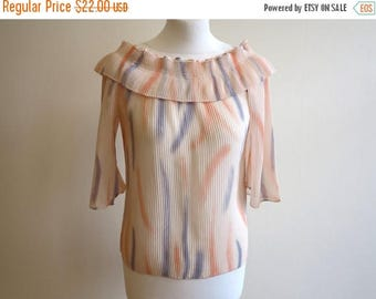 ON SALE Vintage 1980 Crinkled Ruffled Pastel Blouse Pale Pink Ivory Pale Blue Elastic Pastel Top
