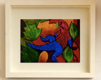 ACEO lizard One of kind Original painting Lizard painting Original Art Miniature Art ACEO Miniature artwork Animal painting Lizards