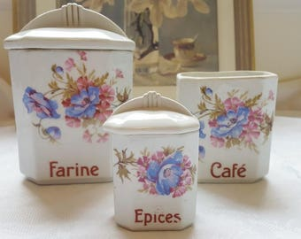 French vintage canisters set of 3 ,  floral decor, ceramic storage pot, storage jar, kitchen canisters
