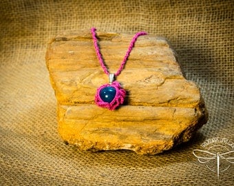 Pink and Blue Tatted Eye Pendant