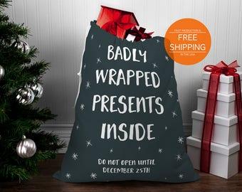Adult Santa sack, funny Christmas bag, badly wrapped presents, unique xmas, presents bag