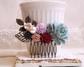 Navy blue Mauve White and brown flowers Soft blue enamel flowers Bridal hair comb Pearl assemblage Something blue