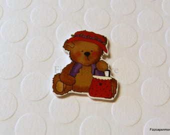 Red Hat Ladies #2 Teddy Pin Handcrafted Brooch Flair Lapel Pin Tie Tack Hat Pin