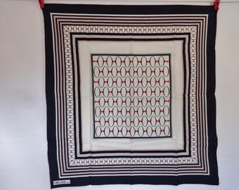 "Vintage Orlane Paris Circles stripes Scarf 24.8"" x 26.3"""