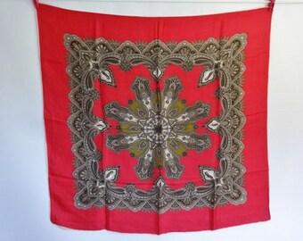 Vintage Paisley silk scarf 77cm x 82cm