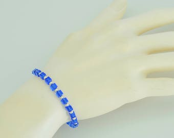Sapphire blue Swarovski crystal beaded bracelet in sterling silver, September birthstone bracelet simple and dainty with lobster claw clasp
