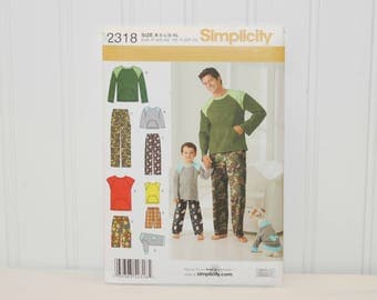 Simplicity 2318 Men & Boys Pajamas (c. 2010) Men and Boy Sizes Small, Medium and Large, PJ Shorts, Pants, Knit Top and Knit Top for Dogs