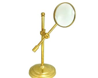 Vintage Brass Magnifying Glass Stand Adjustable Great For Desk Jewelry Stamps
