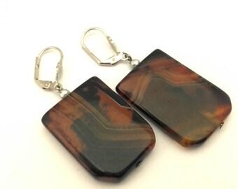 Vintage Handmade Russian Brown Obsidiane Square Gemstone Long Beaded Earrings
