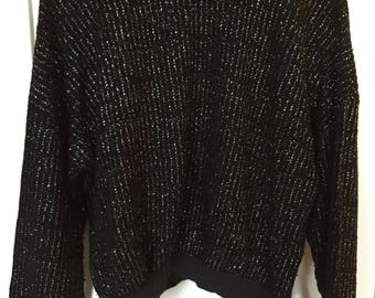 80's 90's black sparkle pullover sweater size S/M