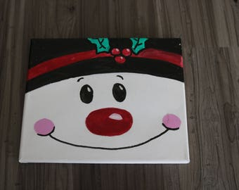 Snowman canvas, holiday canvas, snowman painting
