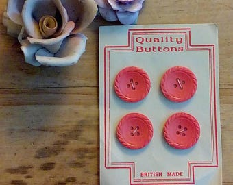 Quality Pink  Vintage Buttons On Card