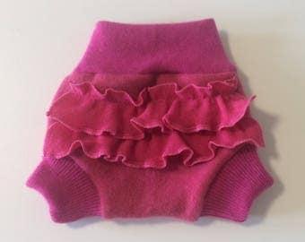 NEWBORN 100%  Wool Cloth Diaper Cover, Upcycled Wool Soaker, Ruffle Wool Shorties
