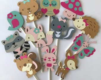 24 Girl theme Woodland Cupcake Toppers; Forest cupcake toppers