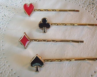 Playing Card Suits Hair Pin (363) - Casino Hair Pin - Diamond Hair Pin - Heart hair pin - Spade hair pin - Club Hair pin repurposed jewelry