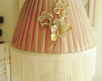 Vintage 40s Fringed Lamp Shade Silk and Taffeta Silk Fringe and White Flowers with Gold Leaves Romantic Cottage Chic