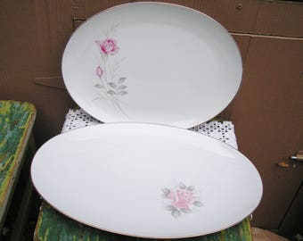 "Vintage Pink Roses Platters Your Choice of 16.5"" or 14.25"" Cottage Chic Farmhouse Style Oval Platters Pink Roses"