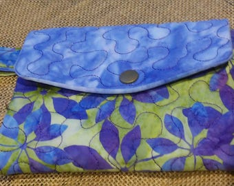 Hand Made - Womans Trifold Wallet - Purples - Clematis Handpainted Batik Fabrics - Quilted - Washable - Butterfly -  Wristet strap available